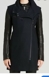 Wool and leather cocoon coat